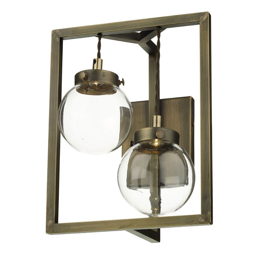 Chiswick 2 Light Wall Light Antique Brass complete with Glass (Hand made, 7-10 day Delivery)